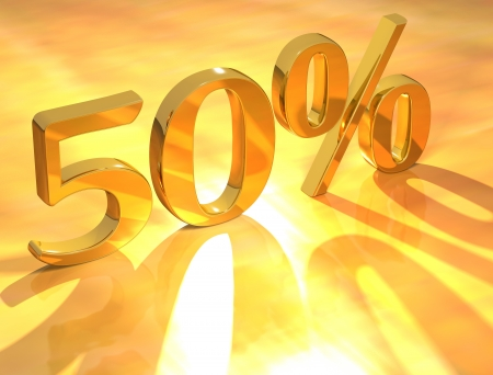 percentages: 3D Percent text % on gold background