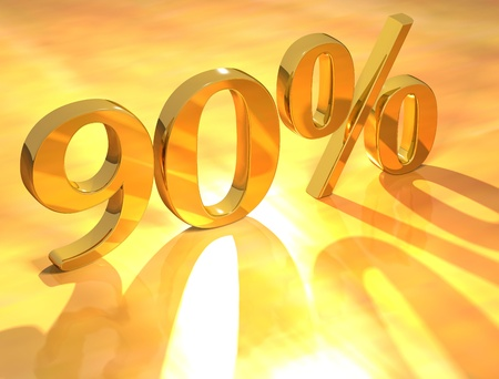 3D Percent text % on gold background photo