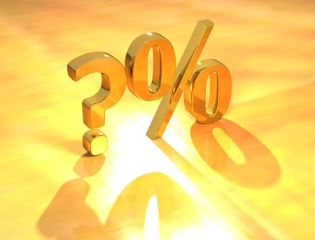 percent: 3D Percent text % on gold background