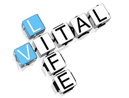 vital: 3D Vital Life Crossword on white background Stock Photo