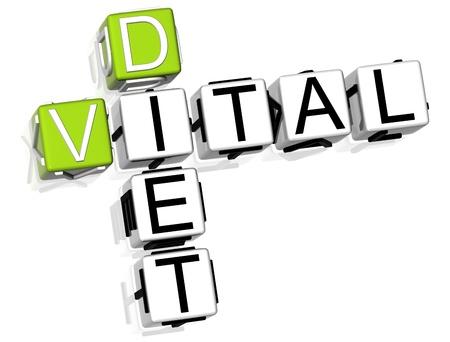 vital: 3D Vital Diet Crossword on white background