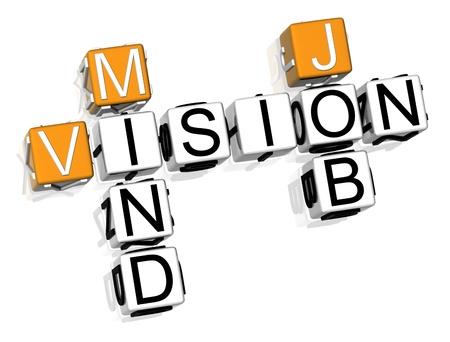 3D Vision Mind Job Crossword on white background photo