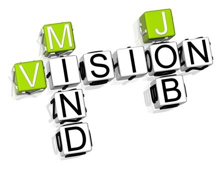 3D Vision Mind Job Crossword on white background photo