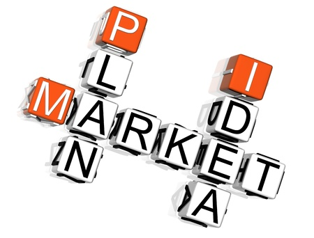 3D Market Plan Idea Crossword on white background photo