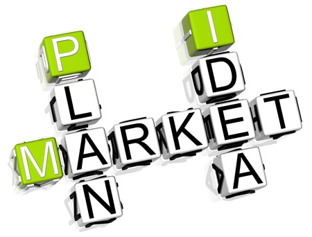 3D Market Plan Idea Crossword on white background photo
