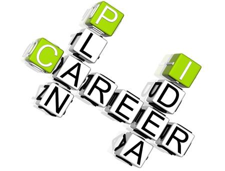 3D Career Plan Idea Crossword  on white background