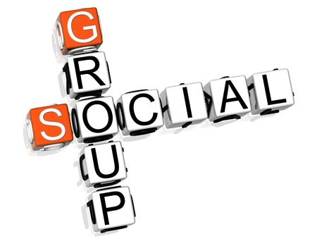 3D Social Group Crossword  on white background photo