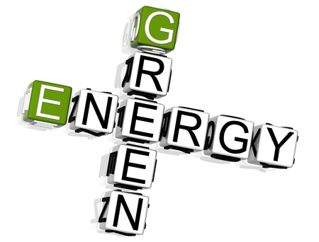 3D Green Energy Crossword on white background photo