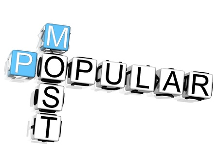3D Most Popular Crossword on white background Stock Photo - 8901740