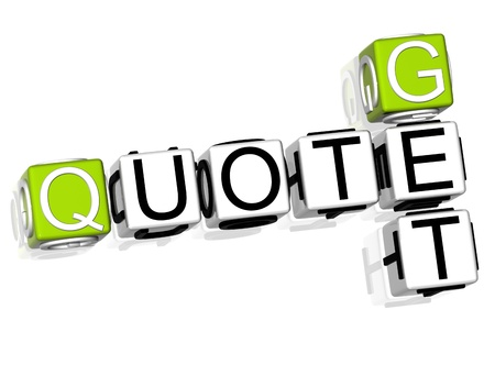 3D Get a Quote Crossword on white background Stock Photo