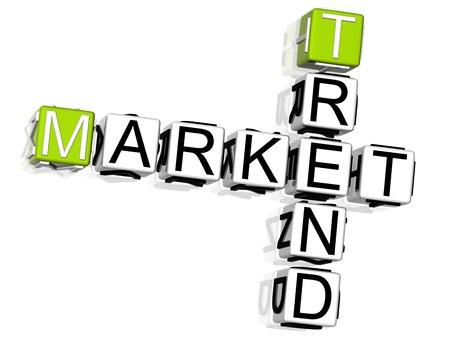 trend: 3D Market Trend Crossword on white background