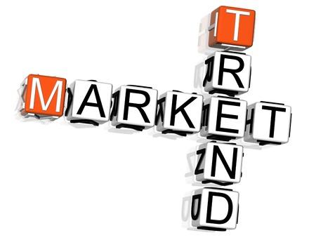 3D Market Trend Crossword on white background Stock Photo - 8901788