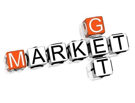 3D Get Market Crossword on white background photo