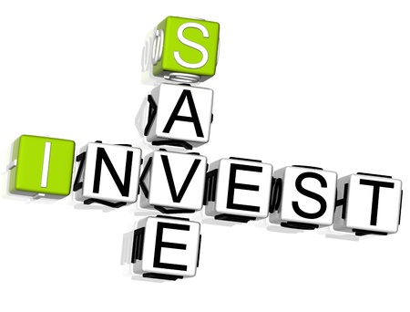 3D Invest Save Crossword on white background photo