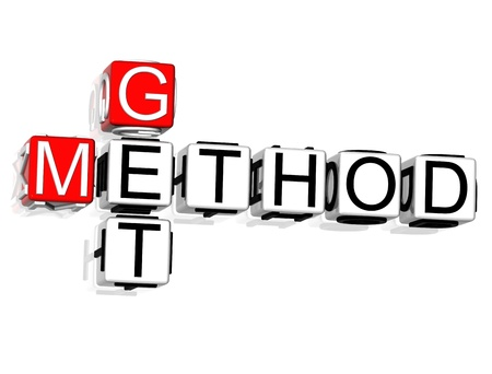 method: 3D Get Method Crossword on white background Stock Photo