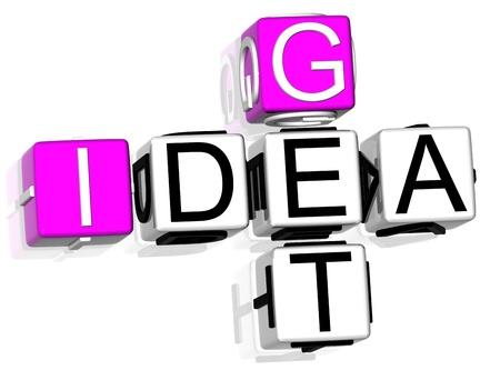3D Get Idea Crossword on white background photo