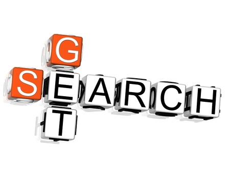 3D Get Search Crossword on white background photo
