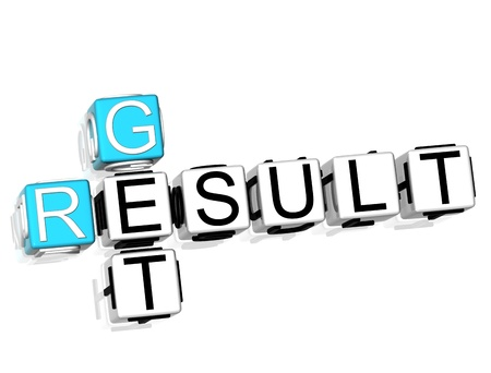 3D Get Result Crossword on white background photo
