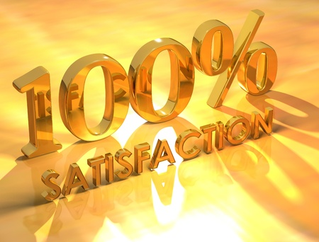 3D 100% Satisfaction on yellow background photo
