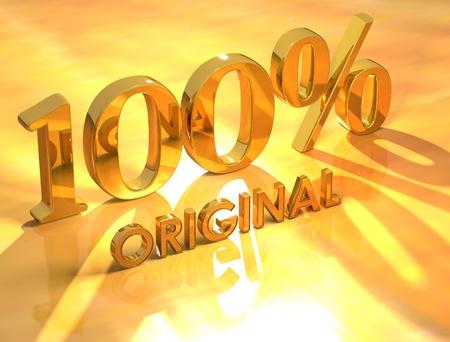 3D 100% Original on yellow background photo