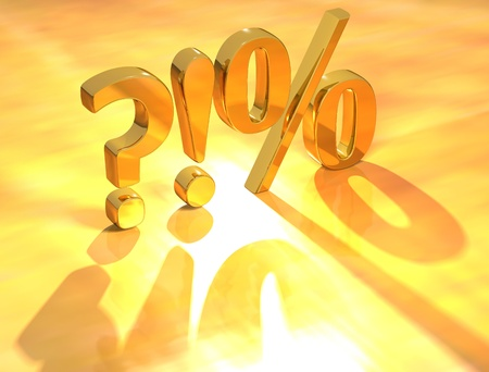 3D Gold Percent Sign on yellow background photo
