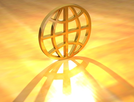 3D Gold World sign on yellow background Stock Photo - 8901858