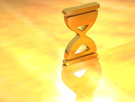 3D Gold Time sign on yellow background photo