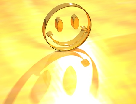 3D Smile Face on yellow background photo