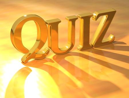 kwis: 3D-Gold Quiz tekst op gele achtergrond
