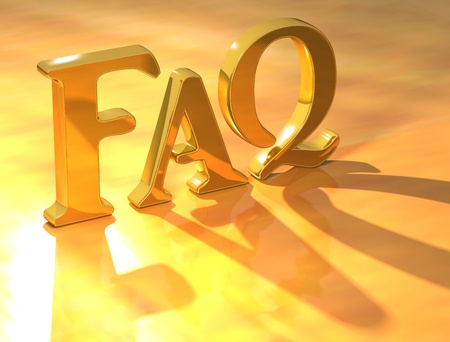 3D Gold Faq text on yellow background photo