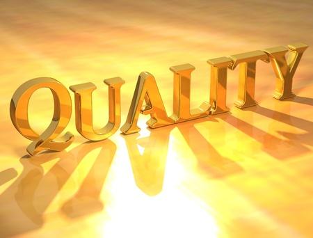 control de calidad: Texto de oro de calidad 3D sobre fondo amarillo