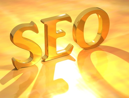 3D Seo Gold Text on yellow background Stock Photo - 8901848