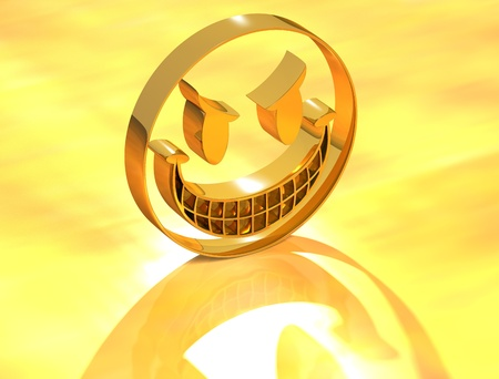 3D Funny Face on yellow background photo