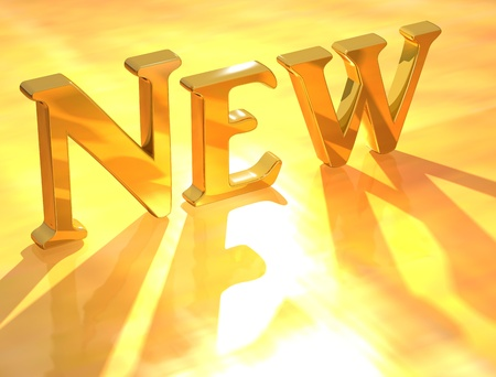 3D Gold New text on yellow background Stockfoto