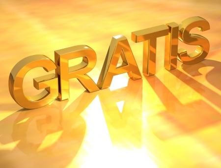 3D Gratis Gold Text on yellow background photo