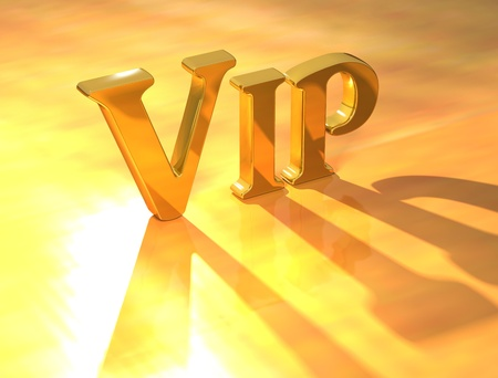 3D Vip Gold Text on yellow background photo