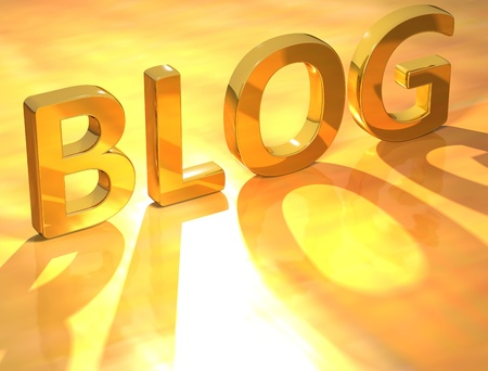 3D Blog Gold Text on yellow background photo