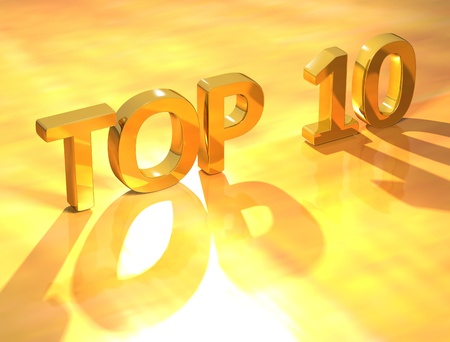 number 10: 3D Top 10 Gold Text on yellow background