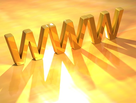 3D WWW Gold Text  on yellow background Stock Photo - 8901851
