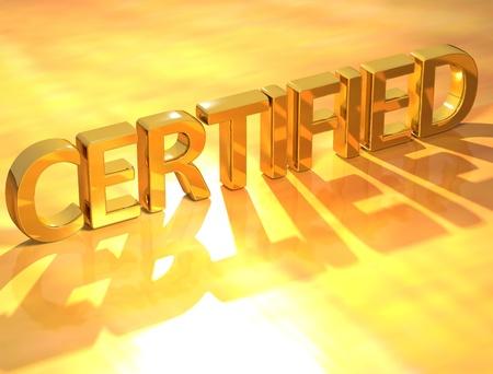 certification: Texto Gold Certified 3D sobre fondo amarillo Foto de archivo