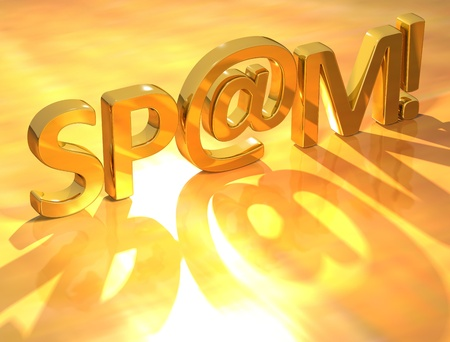 spammer: 3D Spam Gold Text  on yellow background Stock Photo