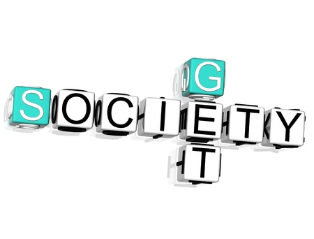 3D Get Society Crossword on white background Stock Photo - 8901879