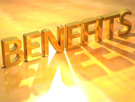 benefits: 3D Gold Benefits text on yellow background Stock Photo