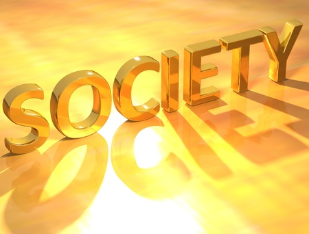 3D Gold Society text on yellow background Stock Photo - 8901920