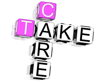 3D Take Care Crossword on white background photo