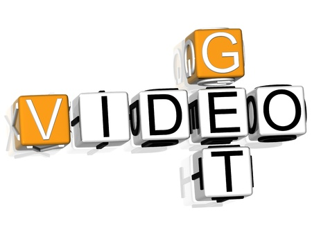 online store: 3D Get Video Crossword text on white background