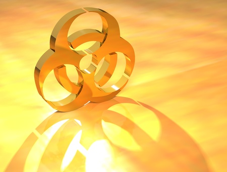 3D Biohazard Gold text on yellow background Stock Photo - 8973287