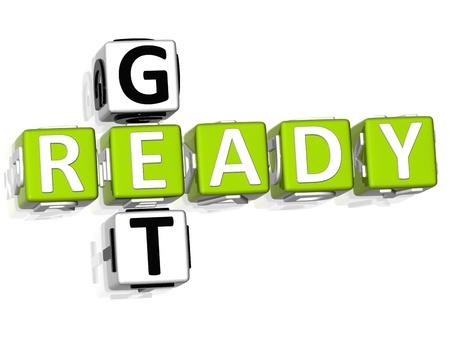 get ready: 3D ottenere pronto cruciverba su sfondo bianco