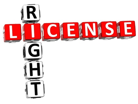 3D License Right Crossword on white background Stock Photo - 8973259