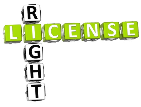3D License Right Crossword on white background photo